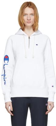 Champion Reverse Weave White Logo Half-Zip Hoodie