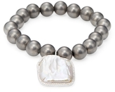 Meira T Brass Bead, Pearl & 0.36 Total Ct. Diamond Stretch Bracelet