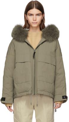 Yves Salomon Army Beige Down and Fur Bachette Jacket