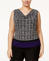 Calvin Klein Plus Size Printed Colorblocked Blouse