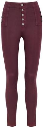 J Brand Natasha Sky High Plum Coated Skinny Jeans