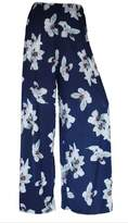 WearAll Plus Size Women's Floral Print Palazzo Trousers - Camel - US 20-22 (UK 24-26)