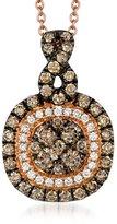 LeVian LE VIAN 14K Rose Gold Double Halo Pendant Featuring Clustered Chocolate & Vanilla Diamonds
