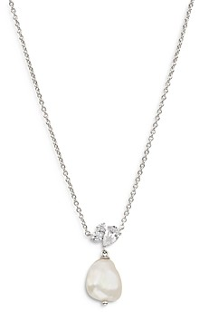 Nadri Chloe Cubic Zirconia & Cultured Keshi Pearl Pendant Necklace, 16