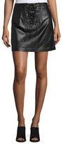 Derek Lam 10 Crosby Laced Leather Mini Skirt, Black