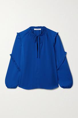 Derek Lam 10 Crosby Jessa Tie-detailed Ruffled Crepe Blouse - Royal blue