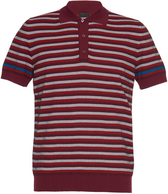 Prada Striped Cotton-Pique Polo Shirt