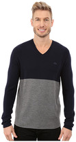 Lacoste Mixed Stretch Wool Rib V-Neck Sweater