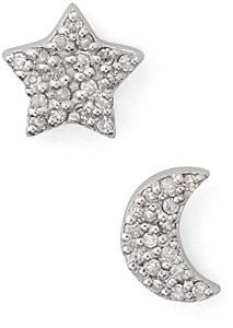 Bloomingdale's Marc & Marcella Mismatched Half Moon & Star Diamond Earrings in Sterling Silver - 100% Exclusive