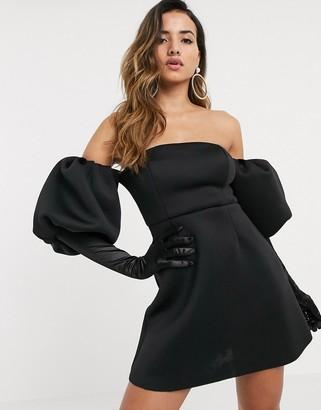 Asos Design DESIGN puff sleeve a-line mini skater dress with gloves-Black