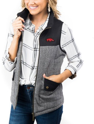 Women's Black Arkansas Razorbacks Prep For It Herringbone Knit Full-Zip Vest