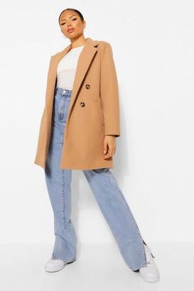 boohoo Petite Double Breasted Wool Look Coat