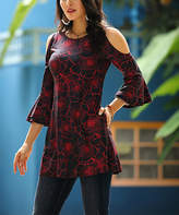 Reborn Collection Women's Tunics Black - Black & Red Floral Bell Sleeve Cutout Tunic - Women