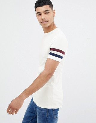 Off-White Asos Design ASOS DESIGN muscle fit t-shirt with sleeve stripe in
