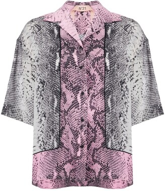 No.21 Snakeskin-Printed Shirt
