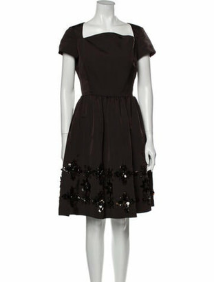Oscar de la Renta Vintage Knee-Length Dress Brown