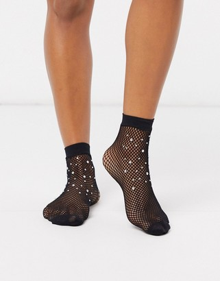Gipsy bling fishnet socks in black