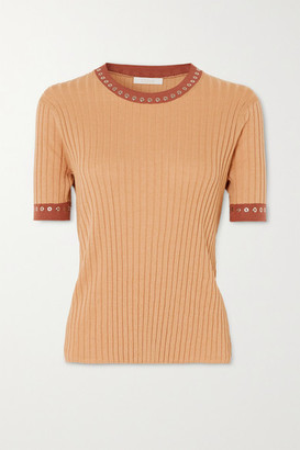 Chloé Eyelet-embellished Ribbed Silk And Cotton-blend Top - Orange
