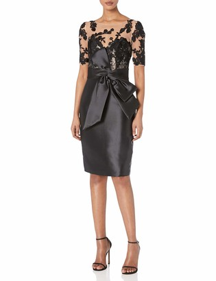 Badgley Mischka Women's Embroidered Sleeve Cocktail Dress