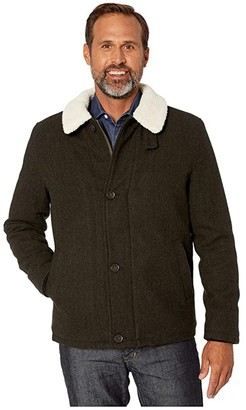 Cole Haan Tumbled Wool Button Front Jacket w/ Faux Sherpa Collar