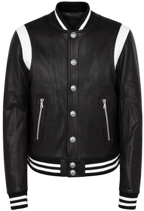 Balmain Monochrome Leather Bomber Jacket