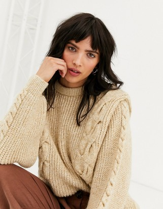 Topshop cable knit jumper with bold sleeve in oat