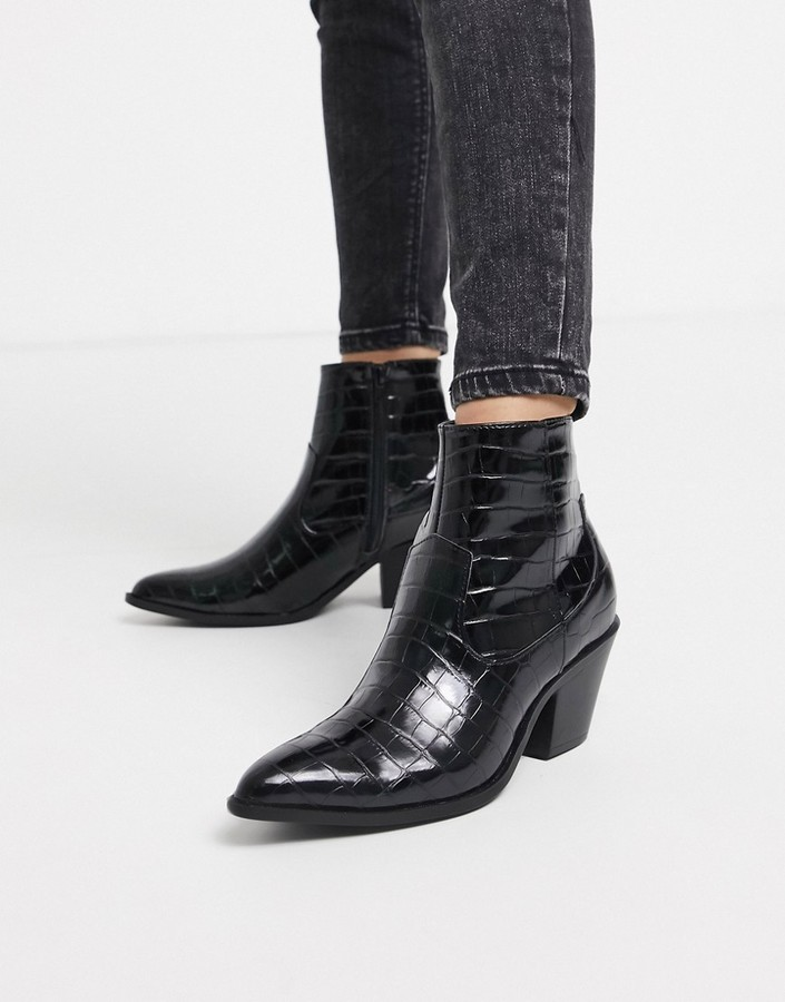 New Look western heeled boots in black