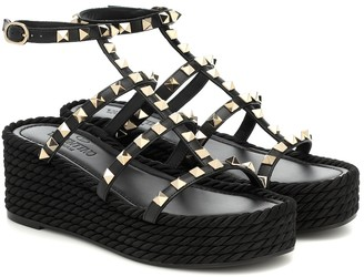 Valentino Rockstud Torchon leather platform sandals