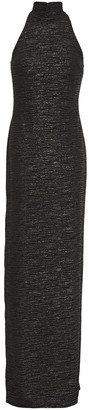 Halston Metallic Textured Jacquard-knit Turtleneck Gown