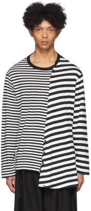 Yohji Yamamoto Black and White Stripe Long Sleeve T-Shirt