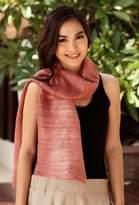 Pink Silk Scarf, 'Bold Rose'