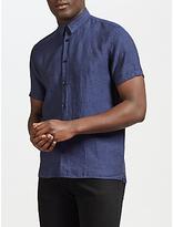J. Lindeberg Daniel Slim Fit Linen Shirt, Dark Blue