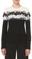 Carolina Herrera Two-Tone Floral-Appliqué Sweater, Black/Ivory