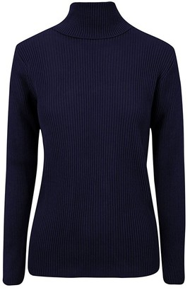 REAL LIFE FASHION LTD. Ladies Plain Long Sleeve Ribbed Turtle Roll Neck Knitted Top Womens Warm Sweater#(Navy Ribbed Polo Neck Jumper#UK 22-24#Womens)