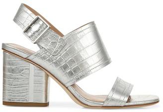 Via Spiga Harriett Metallic Croc-Embossed Leather Slingback Sandals