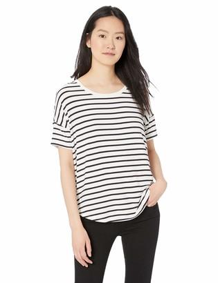 Daily Ritual Amazon Brand Women's Jersey Rib Trim Drop-Shoulder Short-Sleeve Scoop-Neck Shirt