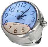 Viva Floating Blue Liquid Finger Ring Watch with Expansion Stretch Stainless Steel Band One Size Fits Most