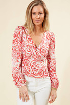 Lucy Paris Landon Button Front Paisley Print Top Red Multi XS