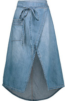 Current/Elliott The Paperbag Denim Wrap Midi Skirt