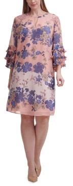 Vince Camuto Plus Size Ruffled-Cuff Floral-Print Dress