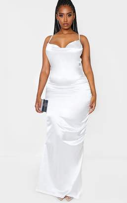 PrettyLittleThing Shape Cream Satin Ruched Side Maxi Dress