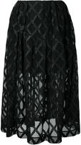 Simone Rocha embroidered semi-sheer skirt - women - Polyamide/Polyester/Polyurethane - 10