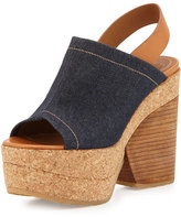 See by Chloe Edith Platform Wedge Sandal, Denim