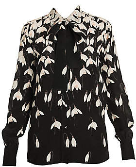 Valentino Women's Bucaneve Silk Blouse with Removable Necktie