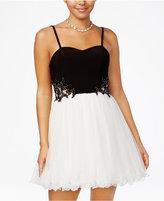 Blondie Nites Juniors' Embellished Colorblocked Fit & Flare Dress