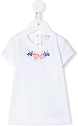 MonnaLisa embroidered bow T-shirt