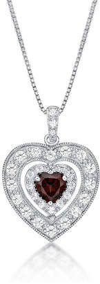 Fine Jewelry Womens Genuine Red Garnet Sterling Silver Heart Pendant Necklace