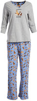 Rene Rofe Women's Sleep Bottoms CONVERCHAR - Gray & Blue 'Puppy Love' Dog Pajama Set - Women