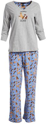 Rene Rofe Women's Sleep Bottoms CONVERCHAR - Gray & Blue 'Puppy Love' Dog Pajama Set - Women