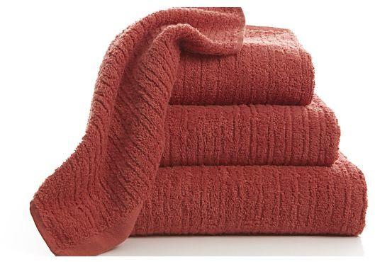 Crate & Barrel Ribbed Coral Bath Towel